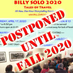 Postponed until the Fall—BILLY SOLO 2020: Tales of Travel